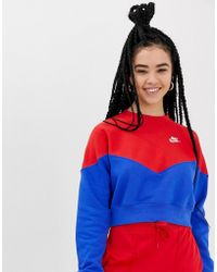 18e48c78ee30b Nike - Heritage Blue And Red Colourblock Sweatshirt - Lyst