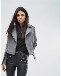Lipsy - Bonded Suedette Biker Jacket - Lyst
