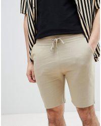 ASOS - Jersey Skinny Shorts In Beige - Lyst