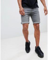 Mango - Man Denim Shorts In Gray - Lyst
