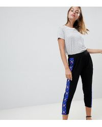 ASOS - Asos Design Petite Tapered Peg Trousers With Aztec Print Side Stripe - Lyst