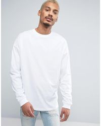 ASOS - Oversized Long Sleeve T-shirt With Cuff In White - Lyst