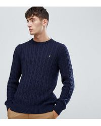 Farah - Ludwig Cable Crew Neck Sweater In Navy - Lyst