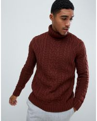 ASOS DESIGN - Heavyweight Cable Knit Roll Neck Sweater In Brown - Lyst