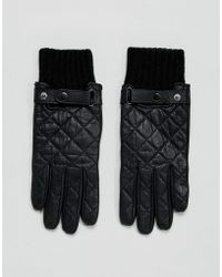 Paul Costelloe - Quilted Leather Gloves In Black - Lyst