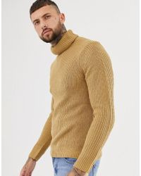 Bershka - Knitted Roll Neck Sweater In Camel - Lyst