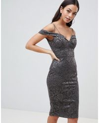 AX Paris - Lace Pencil Dress With Sleeve - Lyst