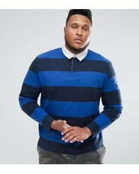 ASOS - Plus Stripe Long Sleeve Rugby Polo In Heavyweight Jersey - Lyst