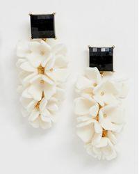 ASOS - Earrings In Resin Petal Waterfall Drop Design In Gold - Lyst