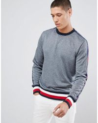 Tommy Hilfiger - Sports Capsule Crewneck Icon Stripe Trim Sweatshirt With  Sleeve Logo Taping In Grey