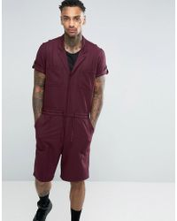 ASOS - Slim Short Boiler Suit With Military Styling In Burgundy - Lyst