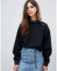 Miss Sixty - Sweatshirt With Distressing And Neck Logo - Lyst