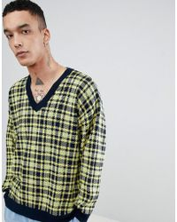 ASOS - Asos Knitted V Neck Check Jumper In Yellow - Lyst