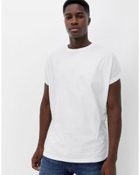 ASOS - Oversized Longline T-shirt With Roll Sleeve In White - Lyst