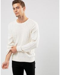 Abercrombie & Fitch - Crew Neck Jumper Cable Knit In Oatmeal - Lyst
