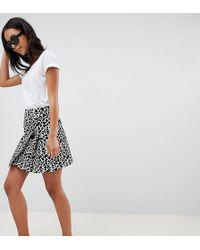 ASOS - Asos Design Tall Animal Mini Jacquard Wrap Skirt With Buckle - Lyst