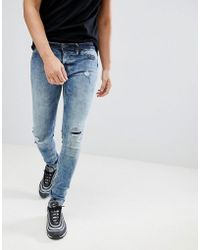 Blend - Flurry Knee Rip Muscle Fit Jeans In Bleach Wash - Lyst