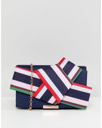 Ted Baker - Striped Bow Box Clutch Bag - Lyst