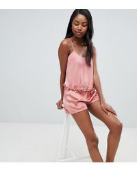 Missguided - Satin Cami Top And Shorts Pyjama Set - Lyst