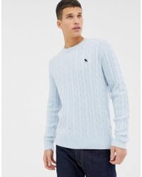 Abercrombie & Fitch - Icon Logo Cable Knit Sweater In Light Blue - Lyst