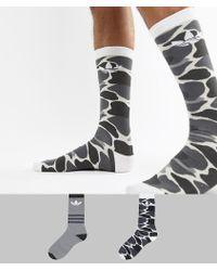 adidas Originals - 2 Pack Camo Crew Socks In Multi Dh1021 - Lyst