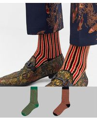 ASOS 2 Pack Ankle Socks In Glittery Vertical Stripes Save - Multicolour
