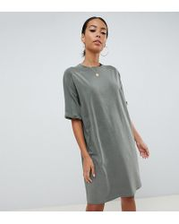 ASOS - Asos Design Tall T-shirt Dress With Rolled Sleeves And Wash - Lyst
