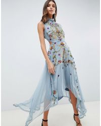 ASOS - Embroidered Midi Dress With Hanky Hem And Lace Up Back - Lyst