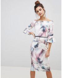 Little Mistress - Printed Flute Sleeve Dress - Lyst