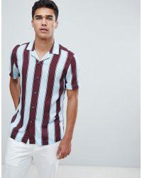 Reiss - Slim Short Sleeve Shirt In Block Stripe - Lyst
