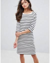 SELECTED - Natali 3/4 Sleeve Striped Jersey Shift Dress - Lyst