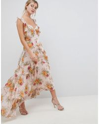 ASOS - Design Ruffle Maxi Dress In Rose Floral Print - Lyst