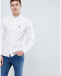 Lyle & Scott - Logo Long Sleeve Oxford Shirt In White - Lyst