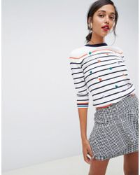 Oasis - Crew Neck Jumper With Embroidered Hearts In Stripe - Lyst