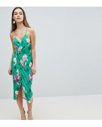 ASOS - Asos Design Petite Slinky Floral Cami Drape Midi Dress - Lyst