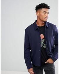 HUGO - Jersey Shirt Jacket In Navy - Lyst