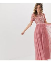 Needle & Thread - Embellished Tiered Tulle Maxi Dress In Rouge - Lyst
