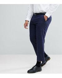 ASOS - Plus Slim Crop Smart Trousers In Navy Texture - Lyst