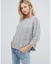 d.RA - Caroline Cable Knit Pocketed Sweater - Lyst