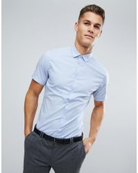 ASOS - Slim Shirt With Stretch In Blue - Lyst