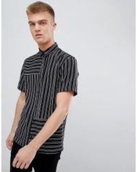 Bershka - Short Sleeved Shirt In Black With Stripes - Lyst