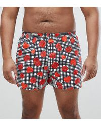 ASOS DESIGN - Asos Plus Woven Boxers In Gingham With Hearts & Roses Print - Lyst