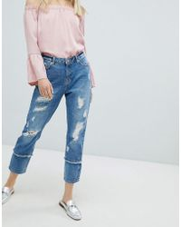 ONLY - Destroyed Straight Jean - Lyst