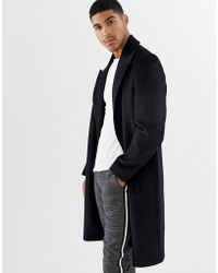 ASOS - Wool Mix Overcoat With Peak Lapel In Black - Lyst