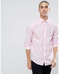 Tommy Hilfiger - Slim Fit Flag Logo Shirt In Pink - Lyst