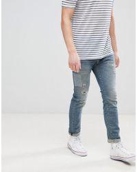 SELECTED - Jeans In Slim Fit With Repair Work - Lyst