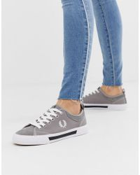 Fred Perry - Horton Canvas Suede Trainers In Grey - Lyst