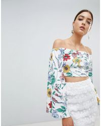 PrettyLittleThing - Floral Bardot Crop Top With Back Tie - Lyst