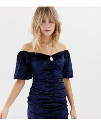 Reclaimed (vintage) - Inspired Velvet Mini Dress With Ruching And Puff Sleeve - Lyst