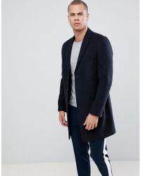 New Look - Overcoat In Navy - Lyst